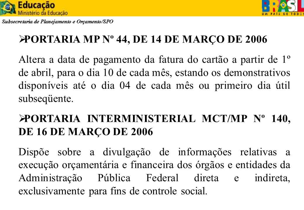 PORTARIA MP Nº 44, DE 14 DE MARÇO DE 2006 Altera a data de pagamento da fatura do cartão a partir de 1º de abril, para o dia 10 de cada mês, estando o