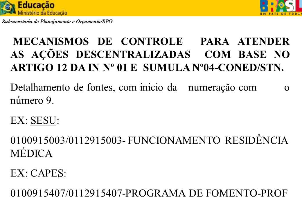 MECANISMOS DE CONTROLE PARA ATENDER AS AÇÕES DESCENTRALIZADAS COM BASE NO ARTIGO 12 DA IN Nº 01 E SUMULA Nº04-CONED/STN. Detalhamento de fontes, com i