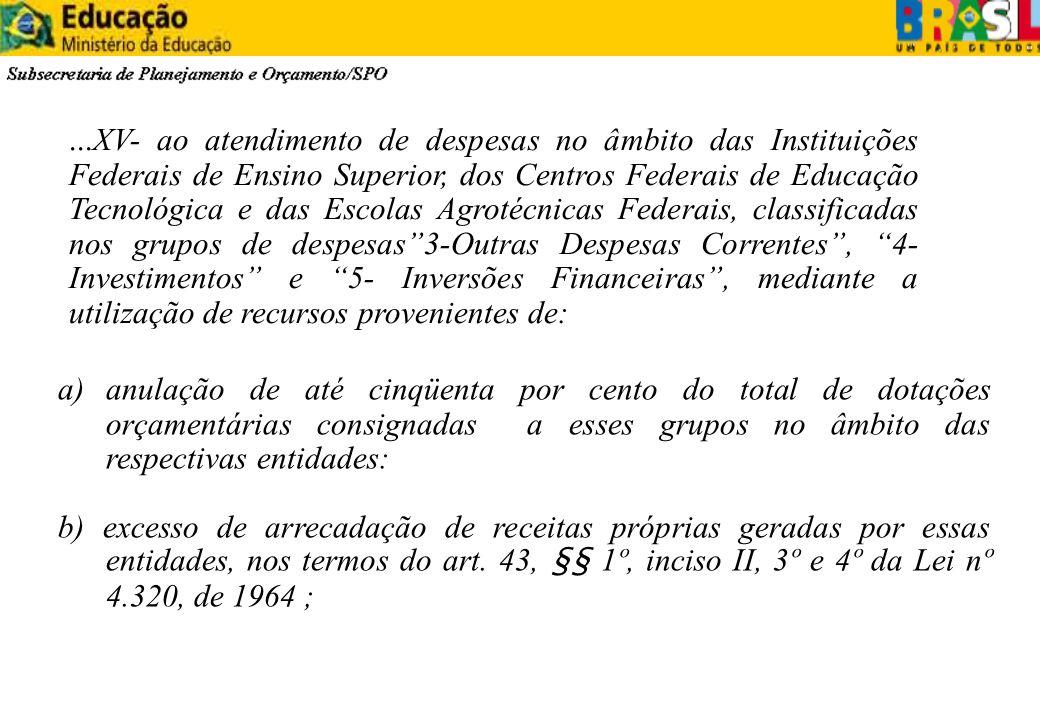 a)anulação de até cinqüenta por cento do total de dotações orçamentárias consignadas a esses grupos no âmbito das respectivas entidades: b) excesso de