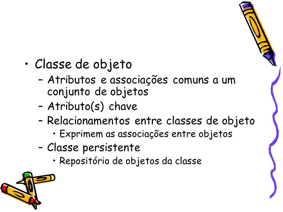 Classe de objeto –Atributos e associações comuns a um conjunto de objetos –Atributo(s) chave –Relacionamentos entre classes de objeto Exprimem as associações entre objetos –Classe persistente Repositório de objetos da classe