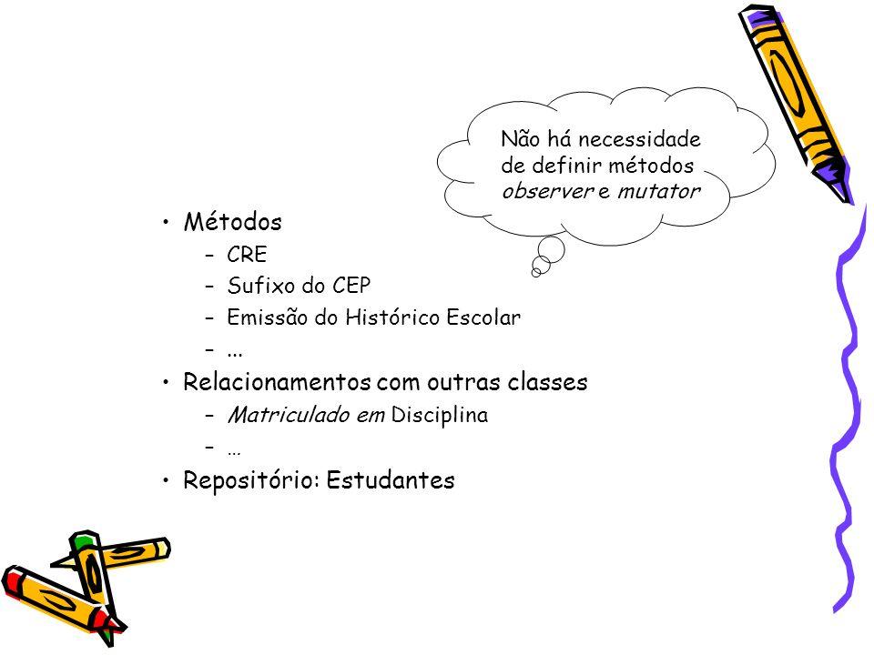 Métodos –CRE –Sufixo do CEP –Emissão do Histórico Escolar –...