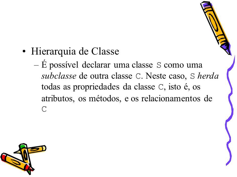 Hierarquia de Classe –É possível declarar uma classe S como uma subclasse de outra classe C.