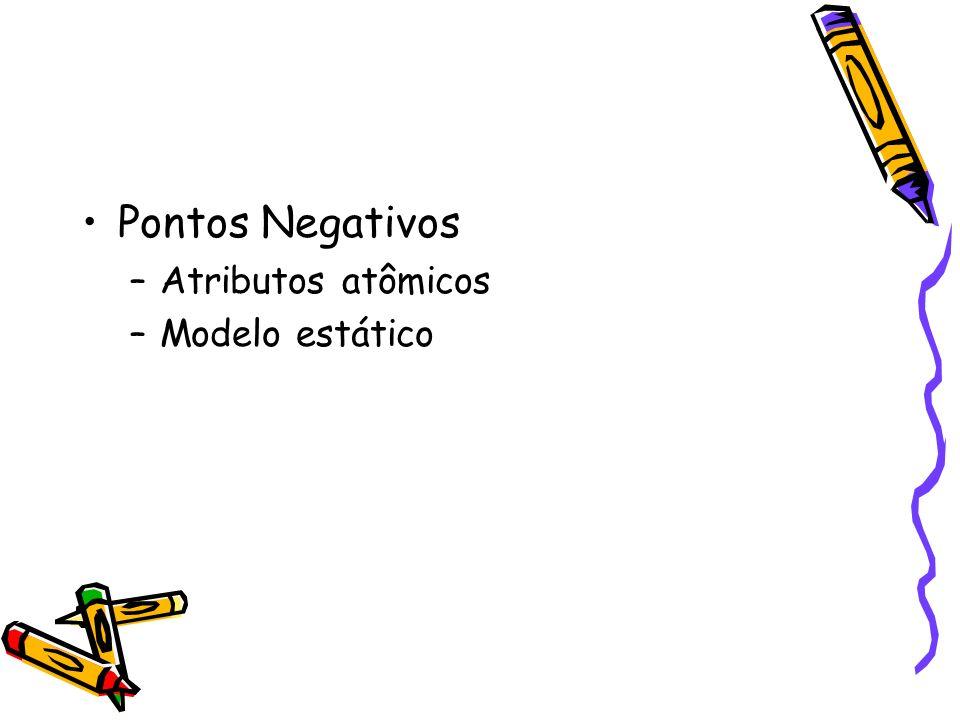 Pontos Negativos –Atributos atômicos –Modelo estático