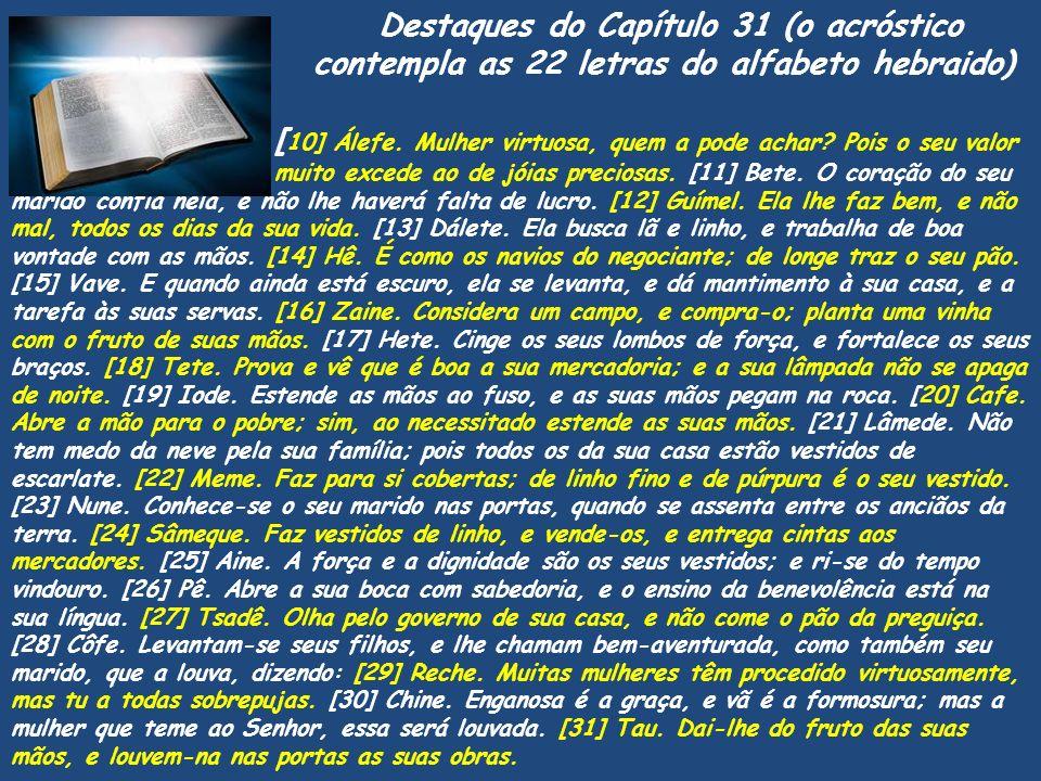 Destaques do Capítulo 31 (o acróstico contempla as 22 letras do alfabeto hebraido) [ 10] Álefe. Mulher virtuosa, quem a pode achar? Pois o seu valor m