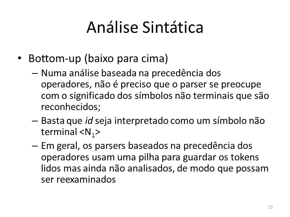 Análise Sintática Bottom-up (baixo para cima) – Numa análise baseada na precedência dos operadores, não é preciso que o parser se preocupe com o signi