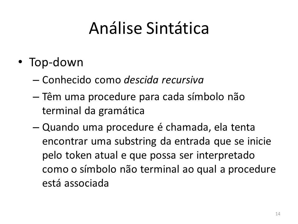 Análise Sintática Top-down – Conhecido como descida recursiva – Têm uma procedure para cada símbolo não terminal da gramática – Quando uma procedure é