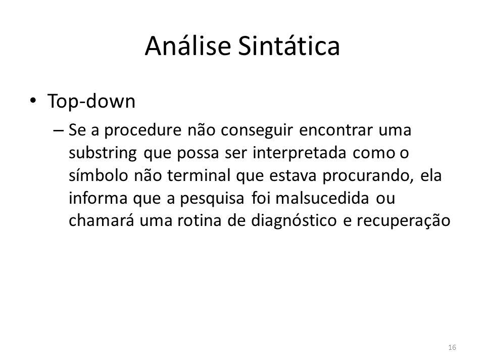 Análise Sintática Top-down – Se a procedure não conseguir encontrar uma substring que possa ser interpretada como o símbolo não terminal que estava pr
