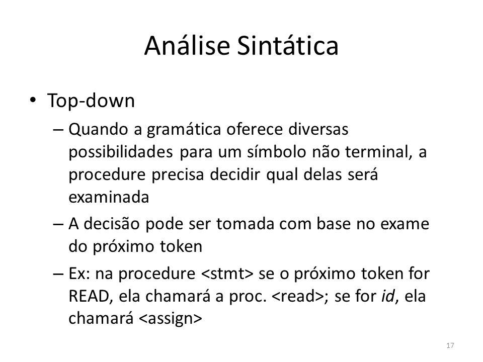 Análise Sintática Top-down – Quando a gramática oferece diversas possibilidades para um símbolo não terminal, a procedure precisa decidir qual delas s