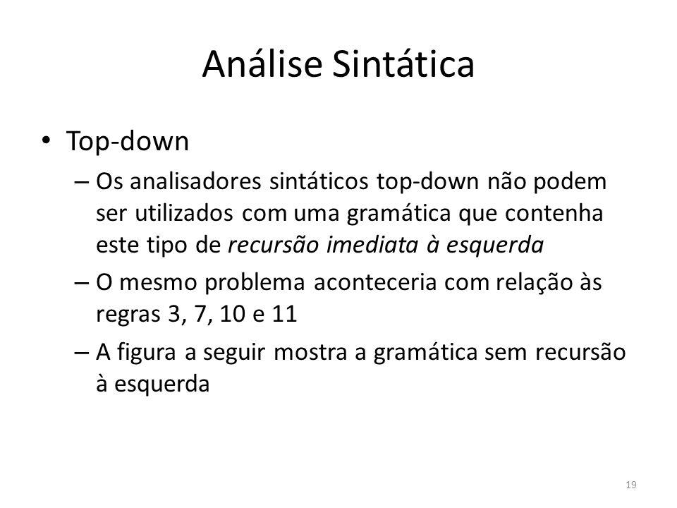 Análise Sintática Top-down – Os analisadores sintáticos top-down não podem ser utilizados com uma gramática que contenha este tipo de recursão imediat