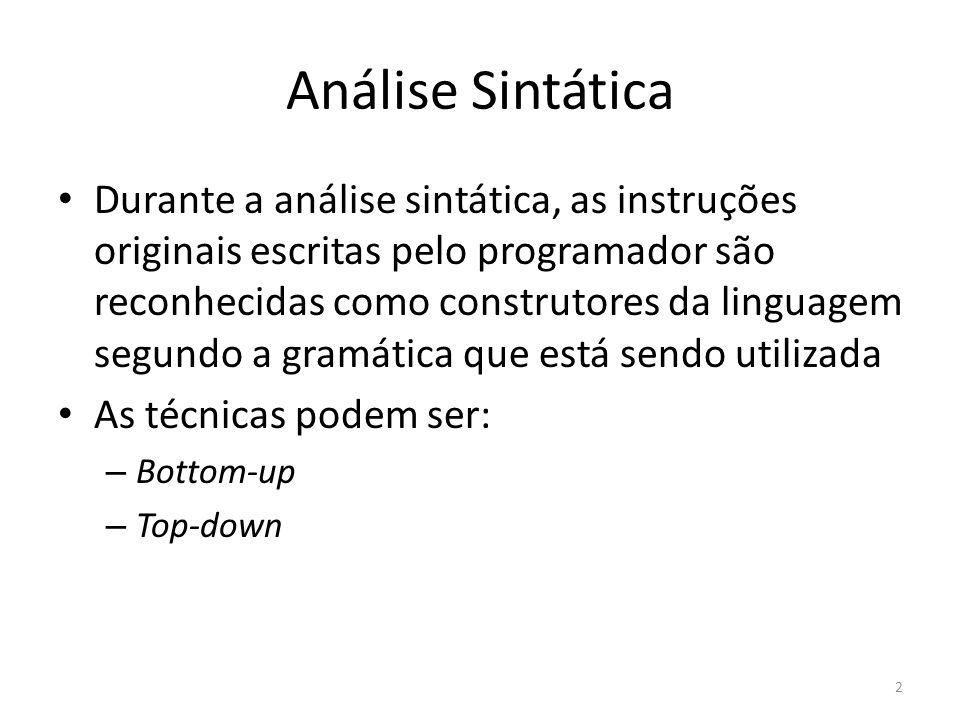 Análise Sintática Durante a análise sintática, as instruções originais escritas pelo programador são reconhecidas como construtores da linguagem segun