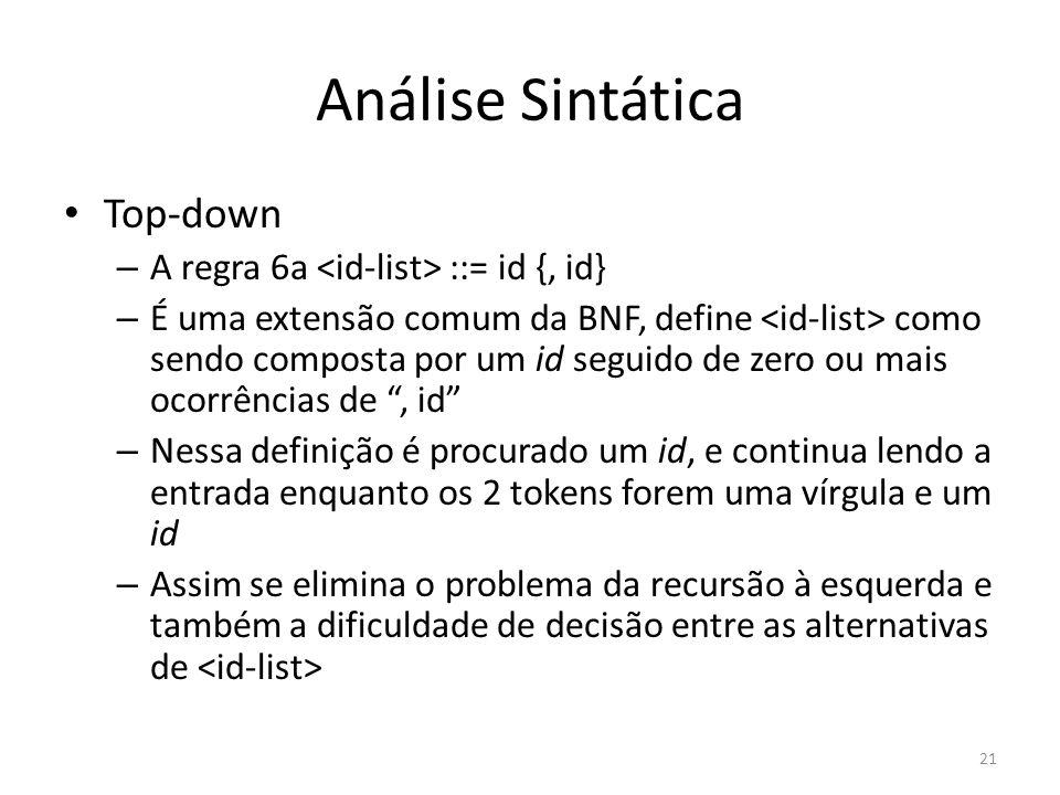 Análise Sintática Top-down – A regra 6a ::= id {, id} – É uma extensão comum da BNF, define como sendo composta por um id seguido de zero ou mais ocor
