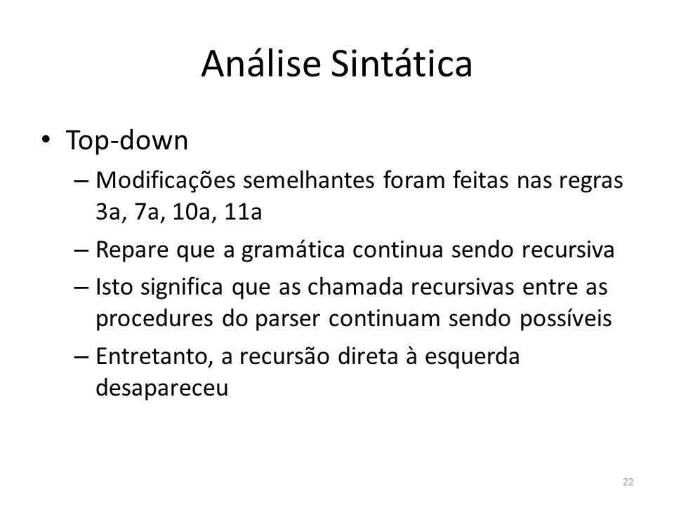 Análise Sintática Top-down – Modificações semelhantes foram feitas nas regras 3a, 7a, 10a, 11a – Repare que a gramática continua sendo recursiva – Ist
