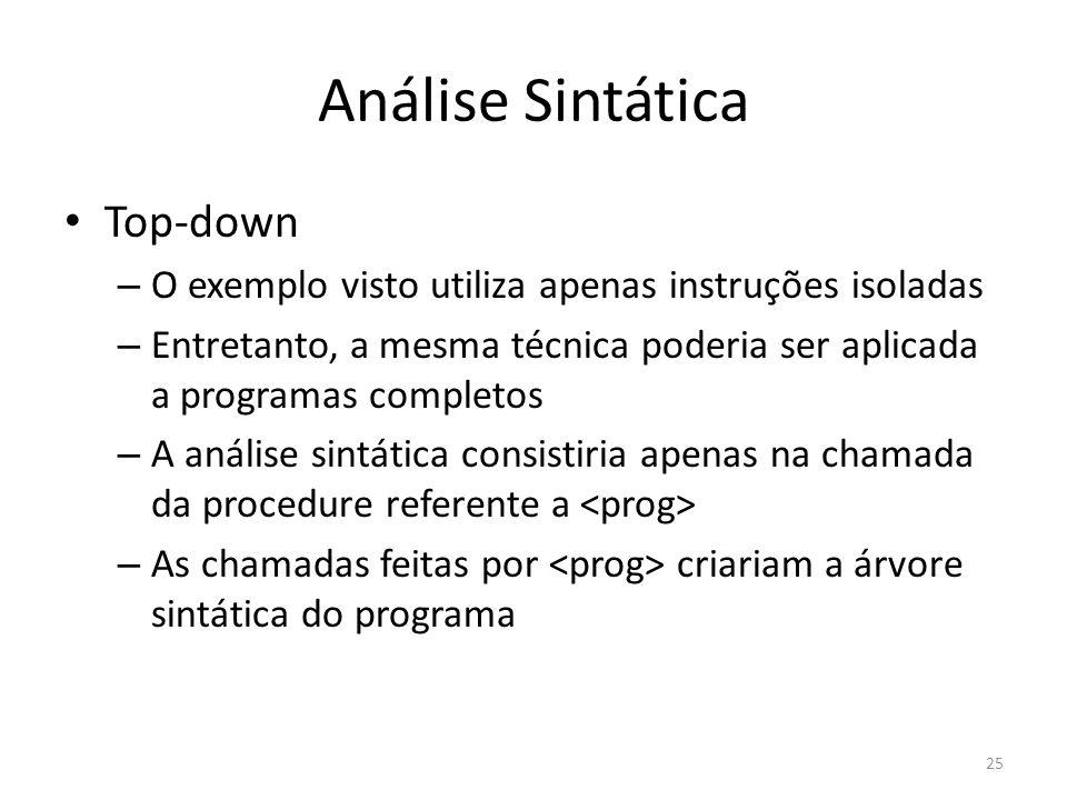 Análise Sintática Top-down – O exemplo visto utiliza apenas instruções isoladas – Entretanto, a mesma técnica poderia ser aplicada a programas complet