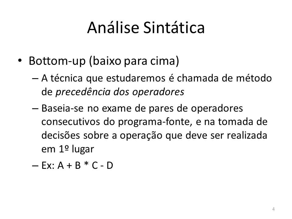 Análise Sintática Bottom-up (baixo para cima) – A técnica que estudaremos é chamada de método de precedência dos operadores – Baseia-se no exame de pa