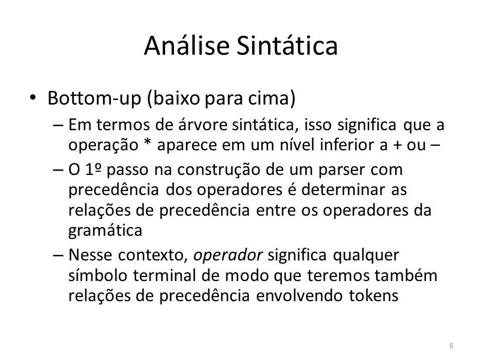 Análise Sintática Bottom-up (baixo para cima) – Em termos de árvore sintática, isso significa que a operação * aparece em um nível inferior a + ou – –