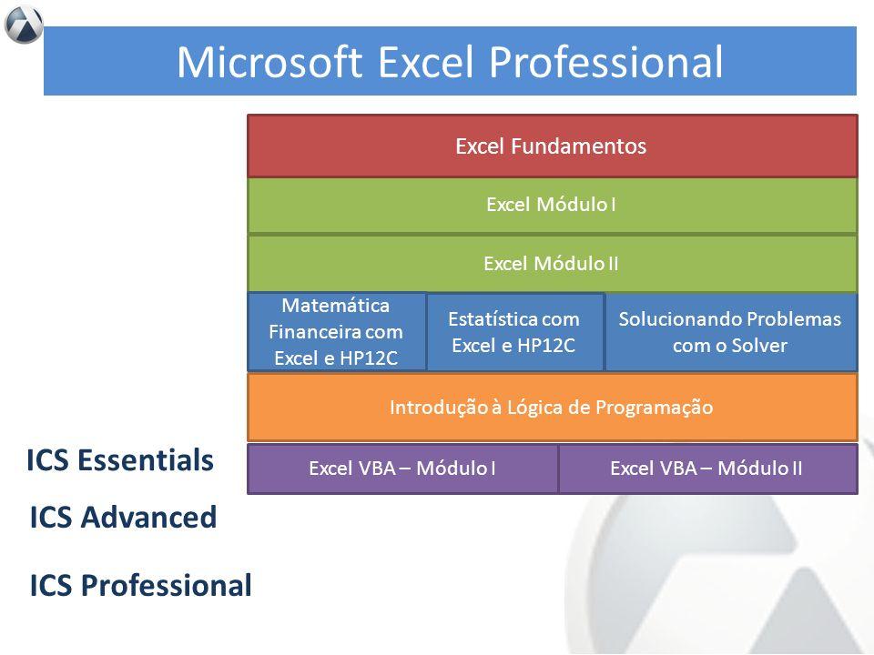 Excel Módulo I Solucionando Problemas com o Solver ICS Essentials ICS Advanced ICS Professional Excel Fundamentos Excel Módulo II Estatística com Exce
