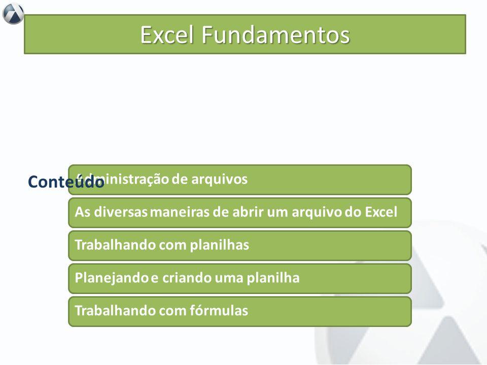 Objetivo Iniciar o aprendizado da ferramenta Excel. Excel Fundamentos Administração de arquivos As diversas maneiras de abrir um arquivo do Excel Trab