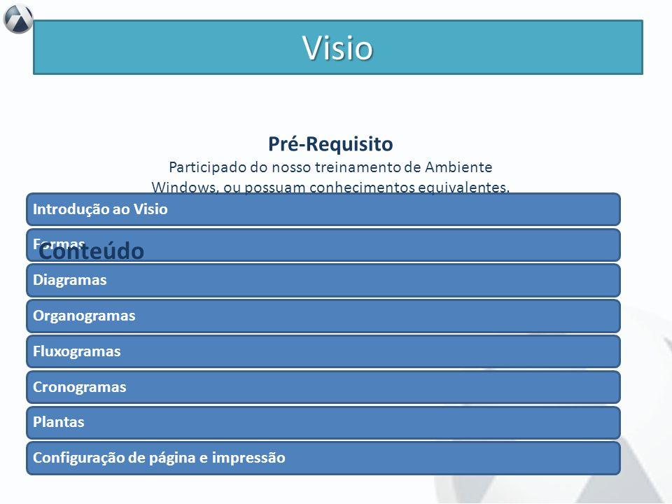 Objetivo Conhecer os recursos fundamentais do Visio e utilizá-los para criar apresentações e organizar informações de forma visual. Visio Introdução a