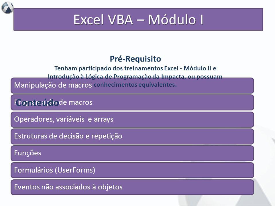 Objetivo Otimizar planilhas eletrônicas no Excel por meio dos recursos oferecidos pelo VBA (Visual Basics for Applications). Excel VBA – Módulo I Mani