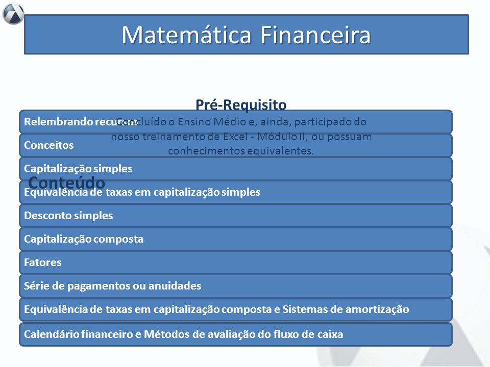 Objetivo Iniciar o aprendizado em matemática financeira para, assim, aplicá-la com eficácia em sua rotina de trabalho, utilizando Excel. Matemática Fi