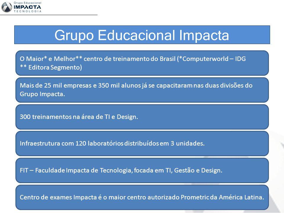 Grupo Educacional Impacta O Maior* e Melhor** centro de treinamento do Brasil (*Computerworld – IDG ** Editora Segmento) Mais de 25 mil empresas e 350