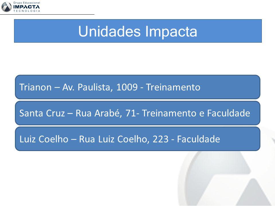 Trianon – Av. Paulista, 1009 - Treinamento Santa Cruz – Rua Arabé, 71- Treinamento e Faculdade Luiz Coelho – Rua Luiz Coelho, 223 - Faculdade Unidades