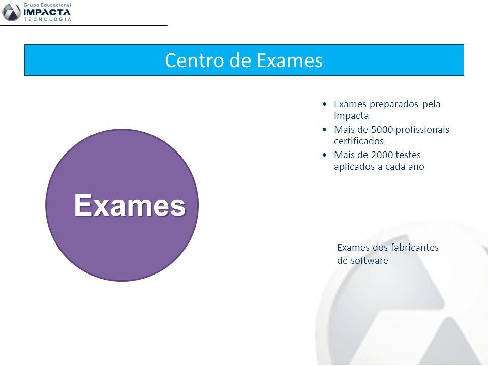 Centro de Exames Exames preparados pela Impacta Mais de 5000 profissionais certificados Mais de 2000 testes aplicados a cada ano Exames dos fabricante