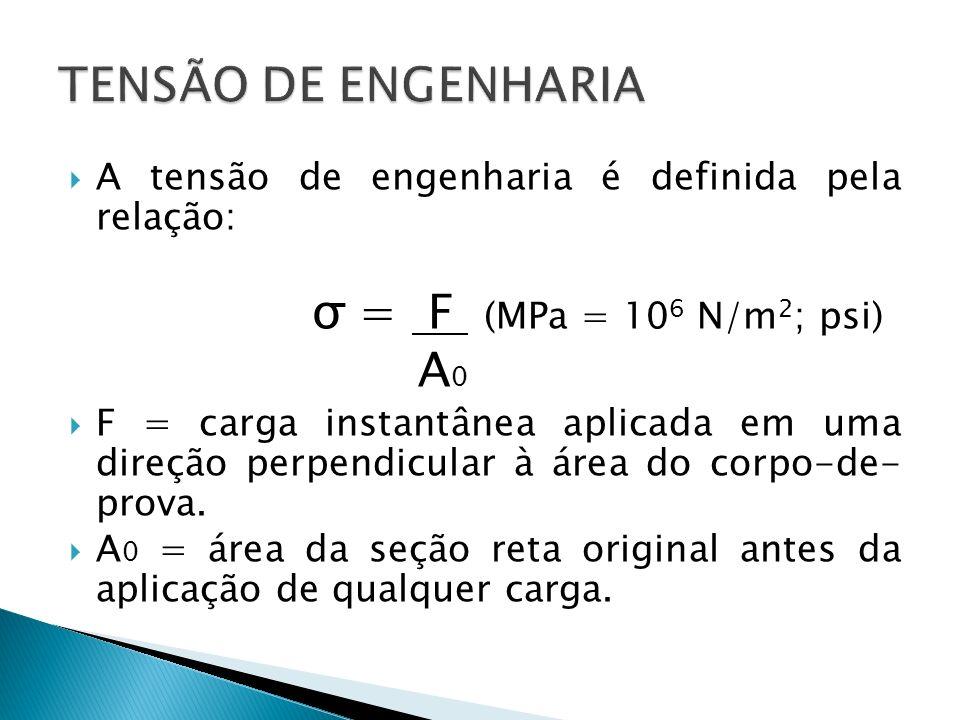 A tensão de engenharia é definida pela relação: σ = F (MPa = 10 6 N/m 2 ; psi) A 0 F = carga instantânea aplicada em uma direção perpendicular à área