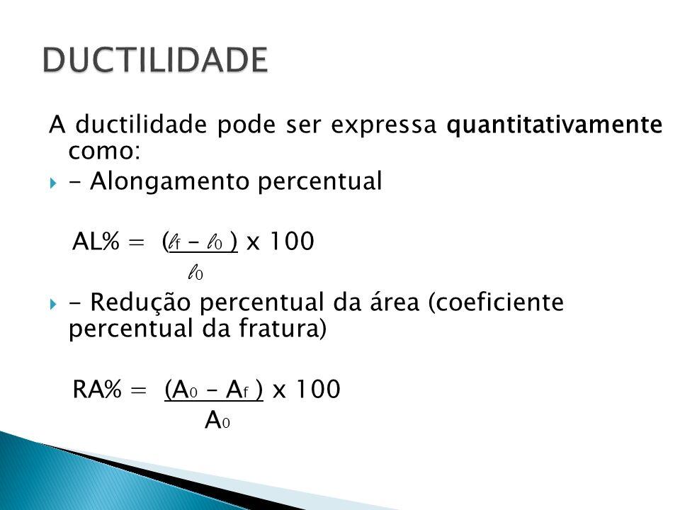 A ductilidade pode ser expressa quantitativamente como: - Alongamento percentual AL% = ( l f – l 0 ) x 100 l 0 - Redução percentual da área (coeficien
