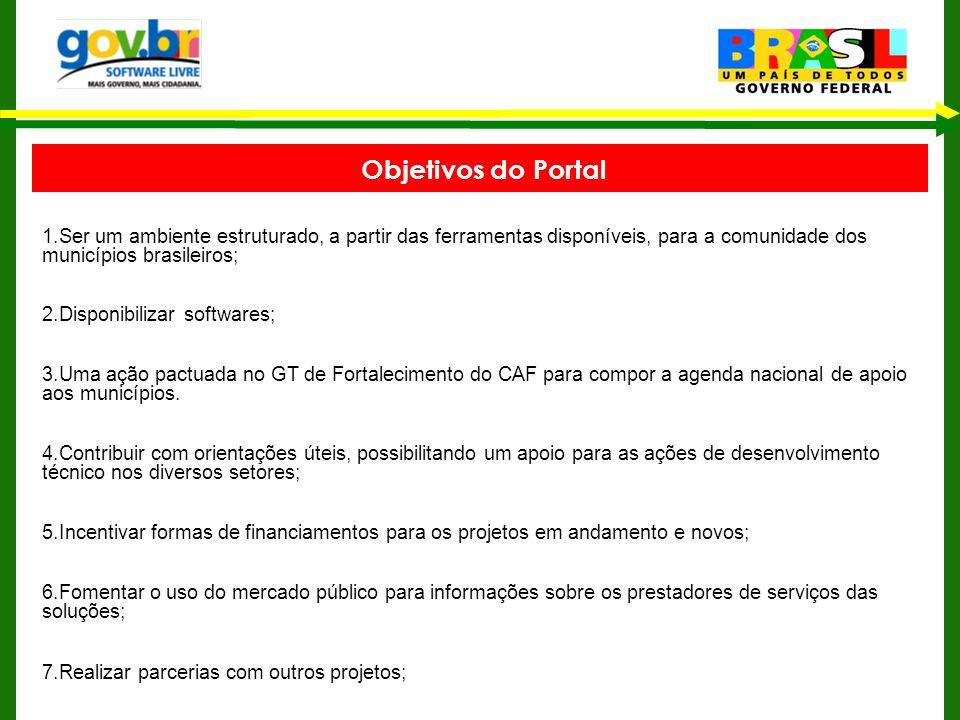 Objetivos do Portal 1.Ser um ambiente estruturado, a partir das ferramentas disponíveis, para a comunidade dos municípios brasileiros; 2.Disponibiliza