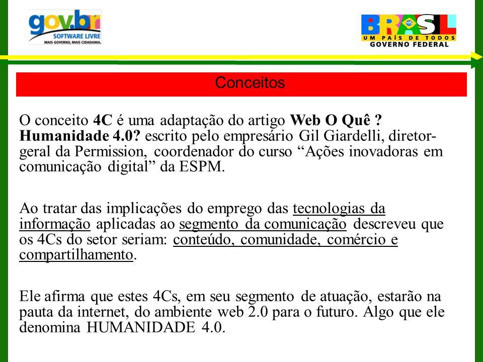 Conceitos O conceito 4C é uma adaptação do artigo Web O Quê ? Humanidade 4.0? escrito pelo empresário Gil Giardelli, diretor- geral da Permission, coo
