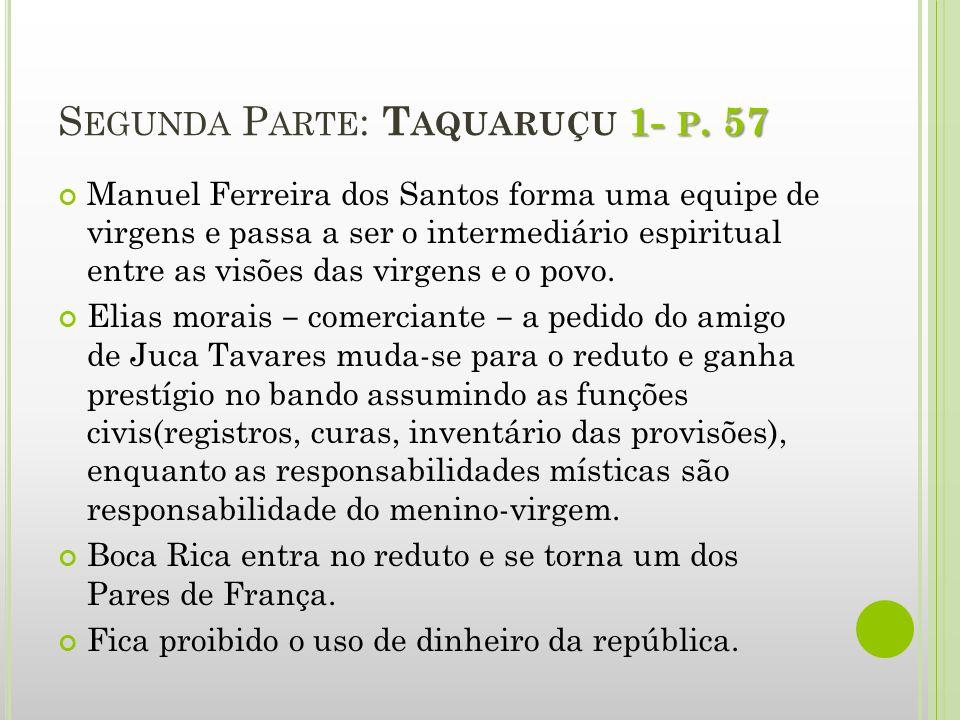 1- P. 57 S EGUNDA P ARTE : T AQUARUÇU 1- P. 57 Manuel Ferreira dos Santos forma uma equipe de virgens e passa a ser o intermediário espiritual entre a