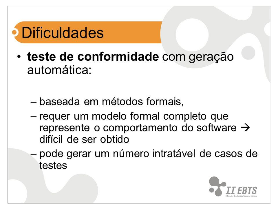 Dificuldades teste de conformidade com geração automática: –baseada em métodos formais, –requer um modelo formal completo que represente o comportamen
