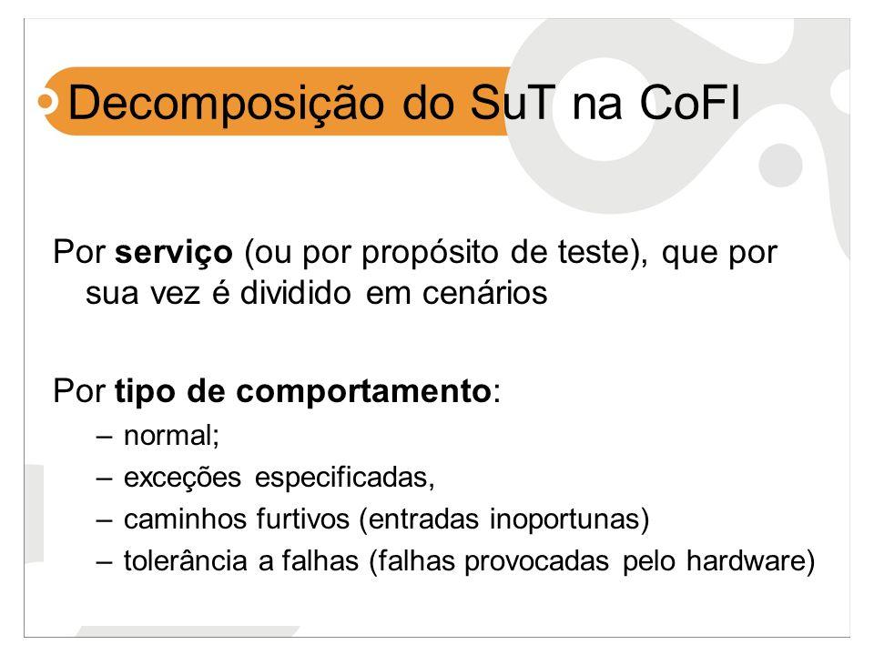 Decomposição do SuT na CoFI Por serviço (ou por propósito de teste), que por sua vez é dividido em cenários Por tipo de comportamento: –normal; –exceç