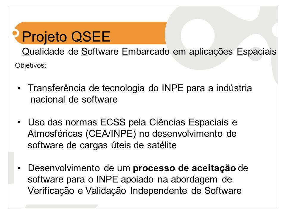 Projeto QSEE Qualidade de Software Embarcado em aplicações Espaciais Transferência de tecnologia do INPE para a indústria nacional de software Uso das
