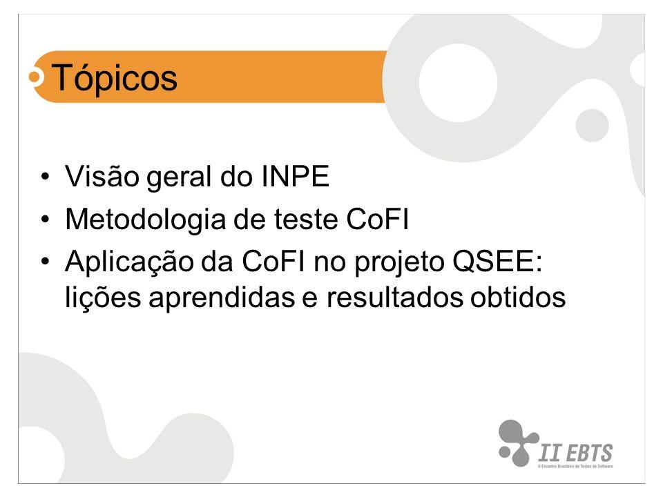 Tópicos Visão geral do INPE Metodologia de teste CoFI Aplicação da CoFI no projeto QSEE: lições aprendidas e resultados obtidos