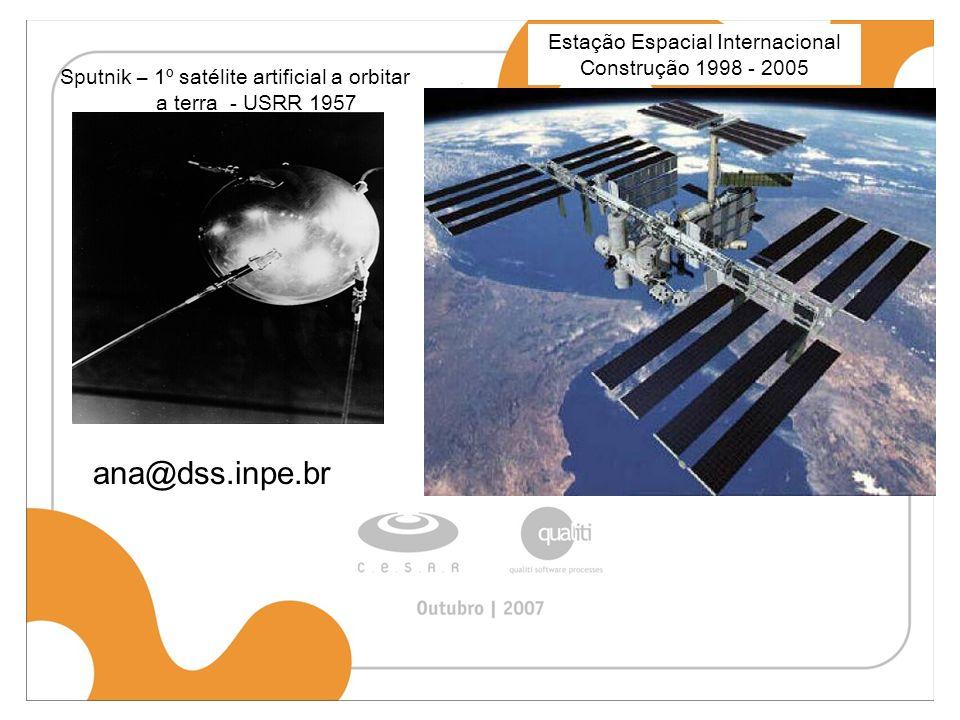 ana@dss.inpe.br Sputnik – 1º satélite artificial a orbitar a terra - USRR 1957 Estação Espacial Internacional Construção 1998 - 2005
