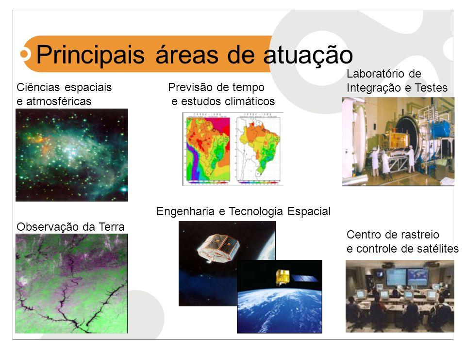 Principais áreas de atuação Engenharia e Tecnologia Espacial Ciências espaciais e atmosféricas Observação da Terra Previsão de tempo e estudos climáti