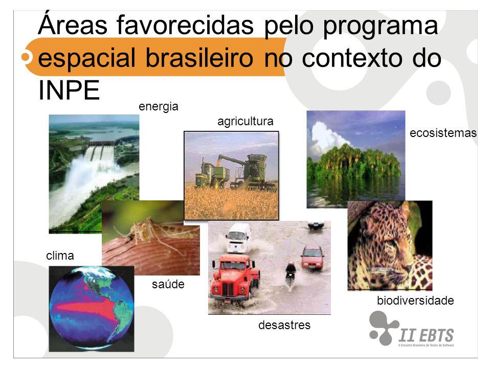 Missões espaciais realizadas MECB – Missão espacial completa brasileira SCD1/93 SCD2/98 SCD2A/97 CBERS – China-Brazil Earth Resources Satellite CBERS1/99CBERS2/03 CBERS2B/07 SACI-1/99 Satélites científicos e tecnológicos SACI-2/99Satec/03 Mirax - CBERS3 - CBERS4 -