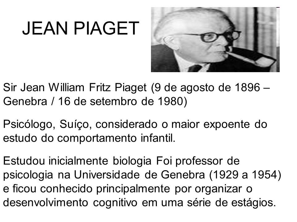 JEAN PIAGET Sir Jean William Fritz Piaget (9 de agosto de 1896 – Genebra / 16 de setembro de 1980) Psicólogo, Suíço, considerado o maior expoente do e