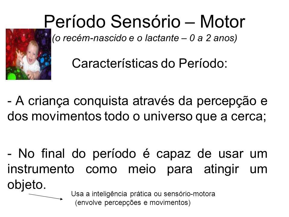 Período Sensório – Motor (o recém-nascido e o lactante – 0 a 2 anos) Características do Período: - A criança conquista através da percepção e dos movi