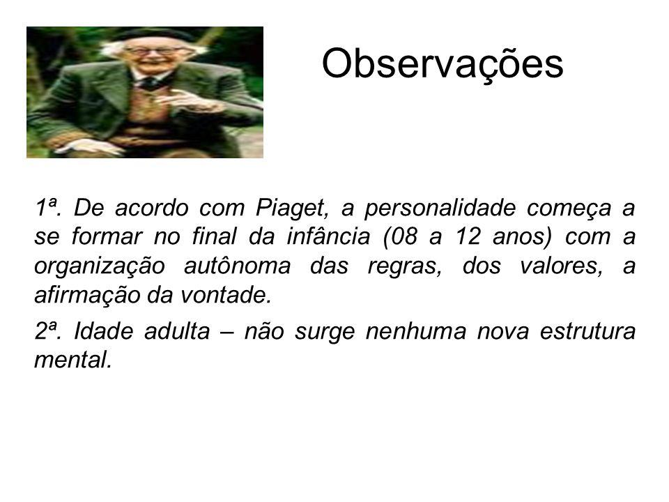 Observações 1ª. De acordo com Piaget, a personalidade começa a se formar no final da infância (08 a 12 anos) com a organização autônoma das regras, do