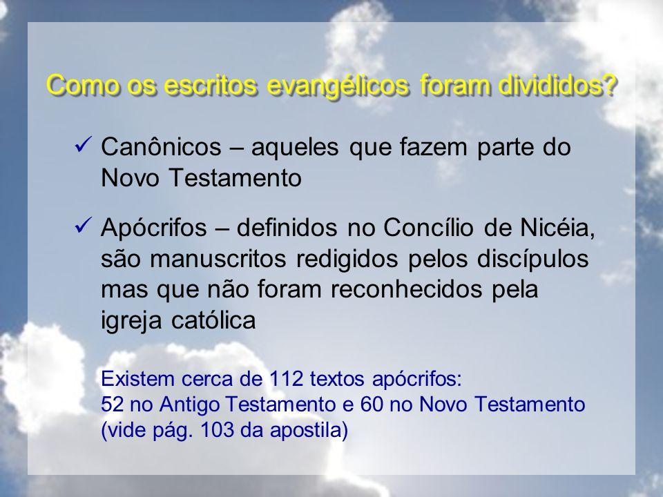 Como os escritos evangélicos foram divididos? Canônicos – aqueles que fazem parte do Novo Testamento Apócrifos – definidos no Concílio de Nicéia, são