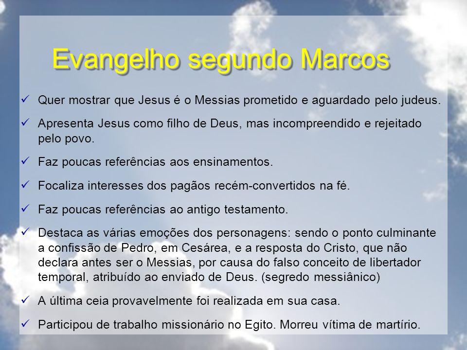 Evangelho segundo Marcos Quer mostrar que Jesus é o Messias prometido e aguardado pelo judeus. Apresenta Jesus como filho de Deus, mas incompreendido