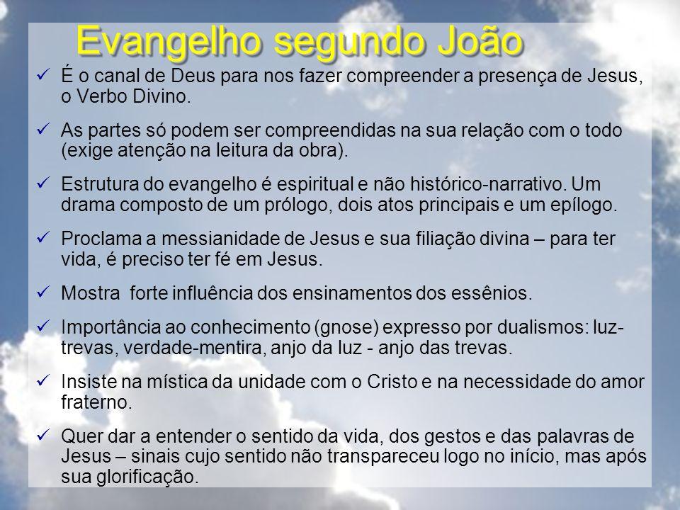 Evangelho segundo João É o canal de Deus para nos fazer compreender a presença de Jesus, o Verbo Divino. As partes só podem ser compreendidas na sua r