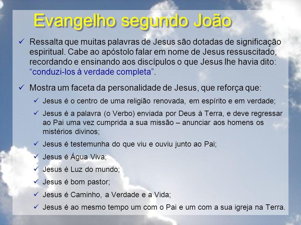 Evangelho segundo João Ressalta que muitas palavras de Jesus são dotadas de significação espiritual. Cabe ao apóstolo falar em nome de Jesus ressuscit