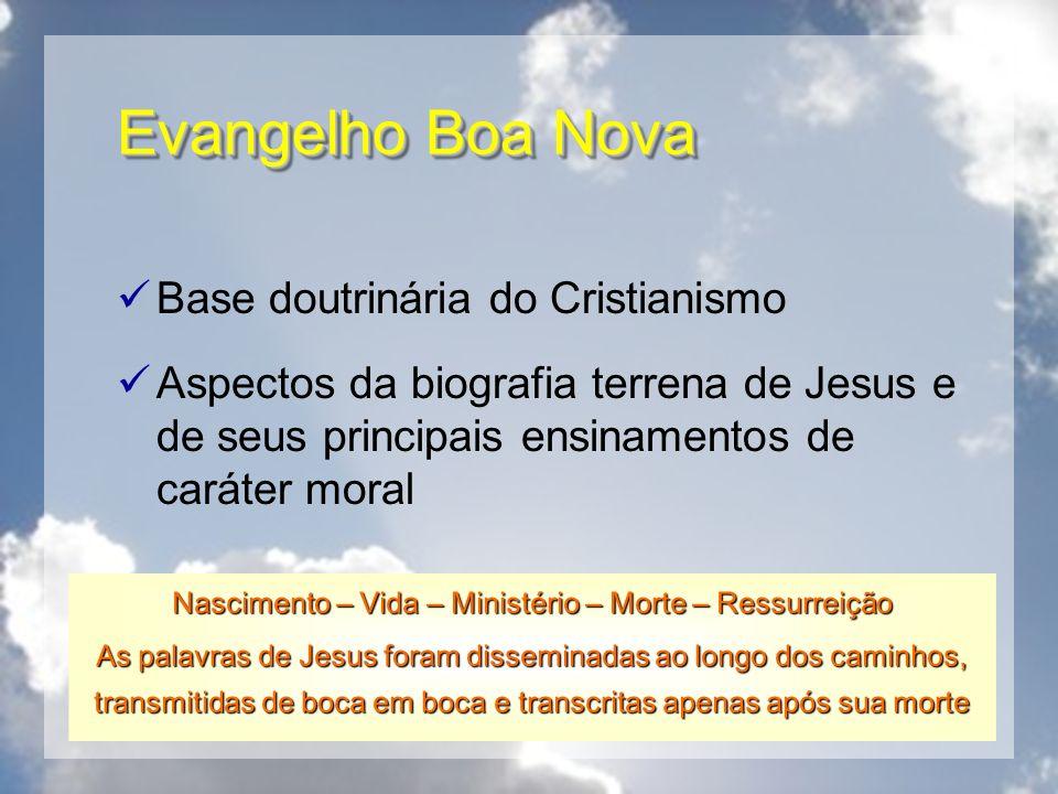 Evangelho Boa Nova Base doutrinária do Cristianismo Aspectos da biografia terrena de Jesus e de seus principais ensinamentos de caráter moral Nascimen