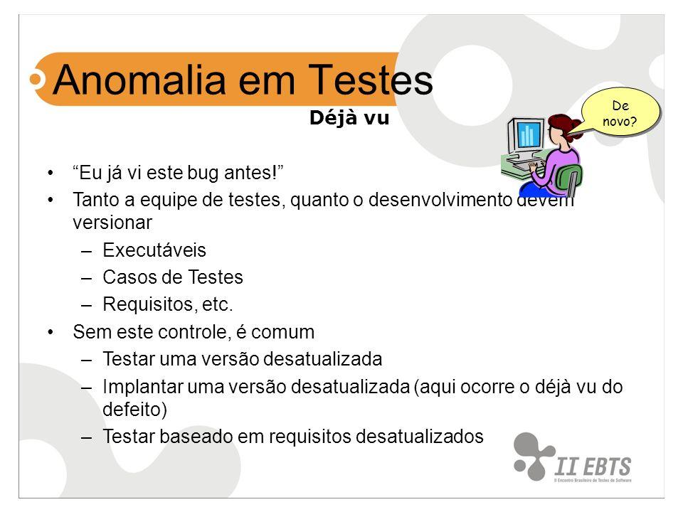 Déjà vu Eu já vi este bug antes! Tanto a equipe de testes, quanto o desenvolvimento devem versionar –Executáveis –Casos de Testes –Requisitos, etc. Se