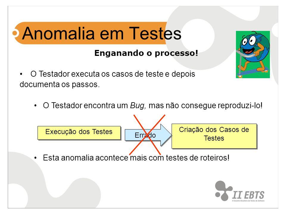 Anomalia em Testes Enganando o processo! O Testador executa os casos de teste e depois documenta os passos. O Testador encontra um Bug, mas não conseg