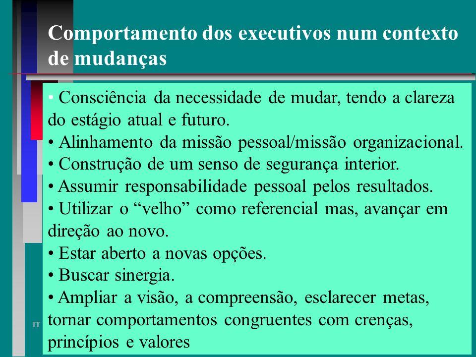 IT características - anos 90 - padrões de pensamento QUANTO À EMPRESA IN (POR DENTRO) OUT (POR FORA) participação nos resultados remuneração fixa bônu